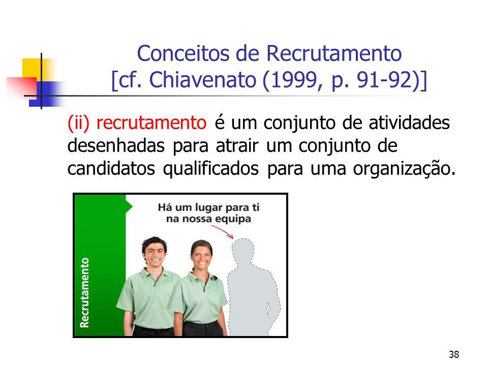 Conceitos de Recrutamento [cf. Chiavenato (1999, p. 91-92)]